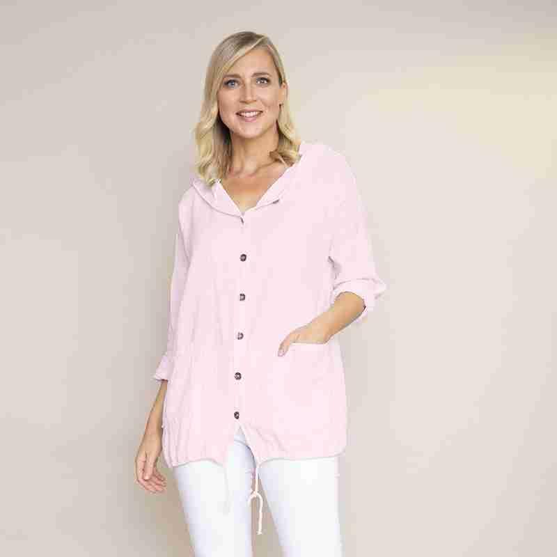 Crinkle Cotton Hoody Jacket(Baby Pink)