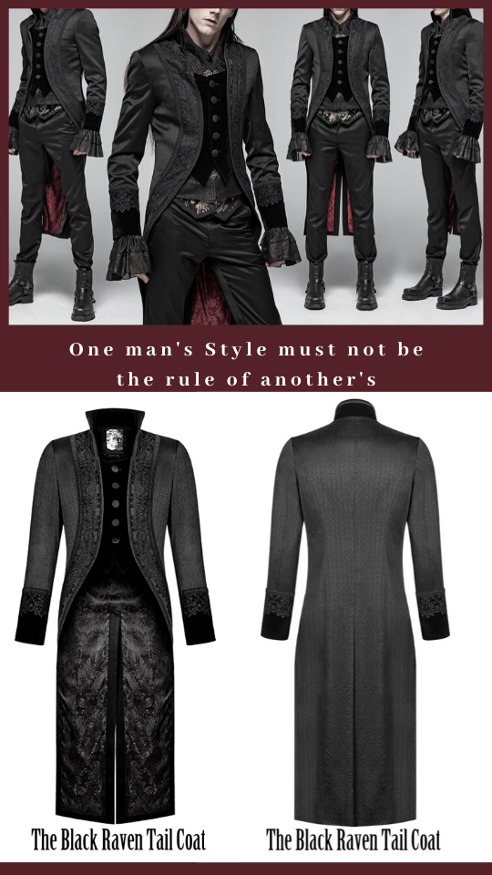 image of long dark haired male model in the Black Raven Tail Coat in a baroque era styling