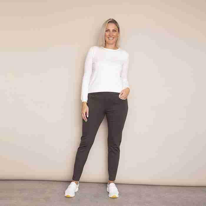 Ann's Stretch Waist Trousers - Plus Size(Khaki - Dark)