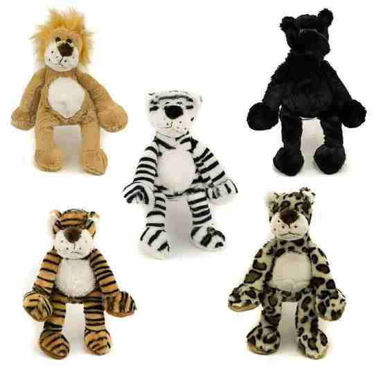 This assortment features a lion, white tiger, bengal tiger, leopard and plush.