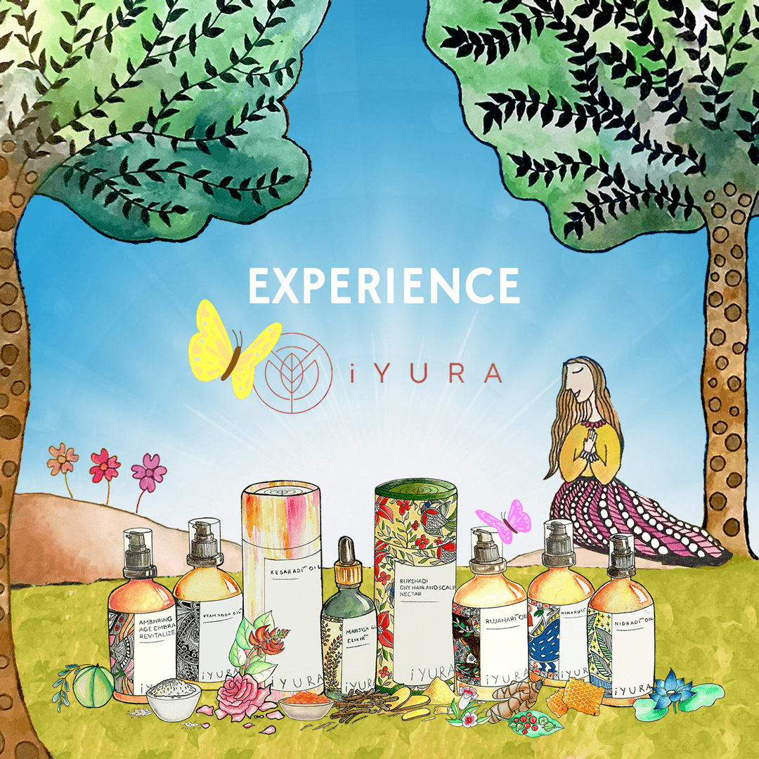 experience iYURA - a beautiful illustration of our product line with a yellow butterfly and an iYURA woman resting peacefully in the background