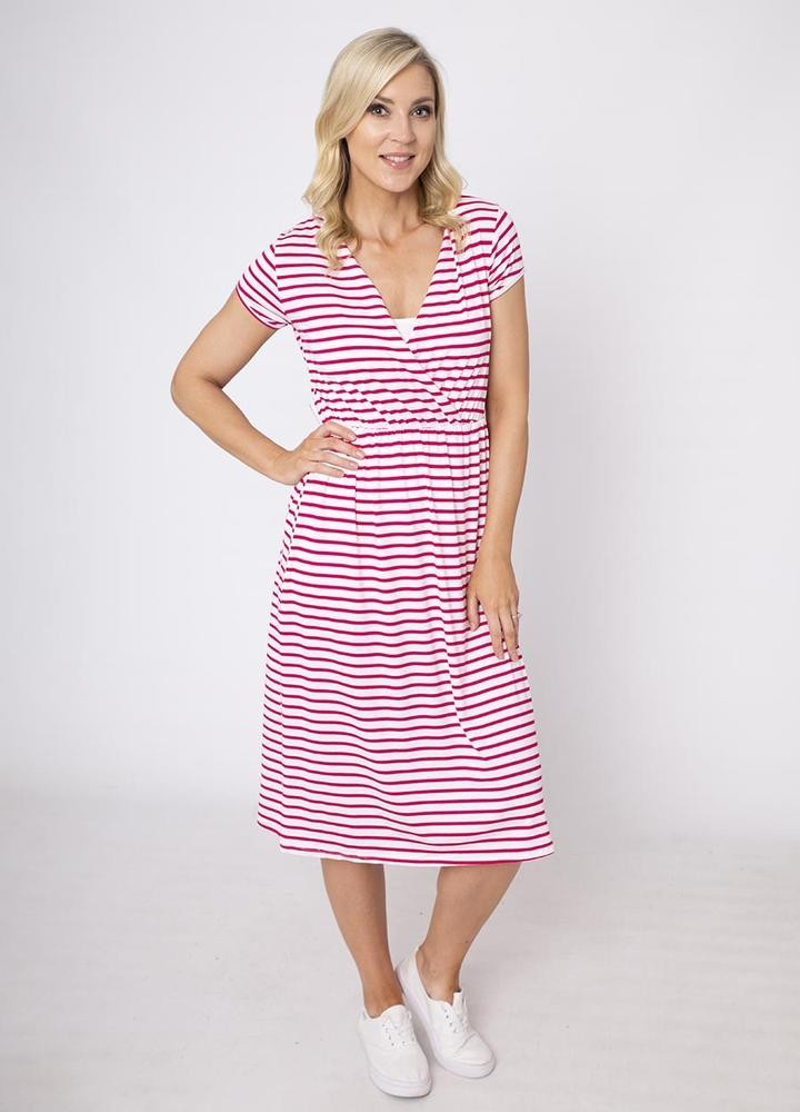 Stripe Cap Sleeve Cross Over Dress