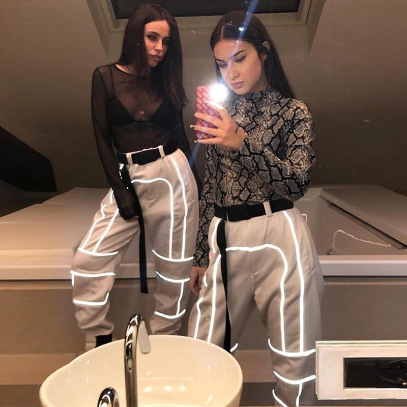 Sexy Reflective Patchwork Pants Street Fashion Cargo Pants