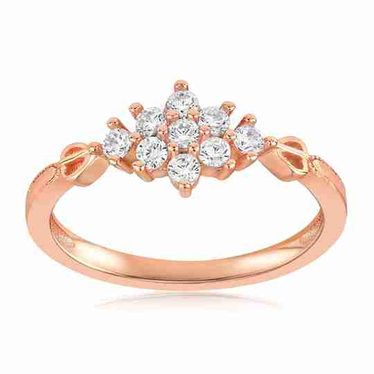 A rose gold vermeil ring with cubic zirconia stones