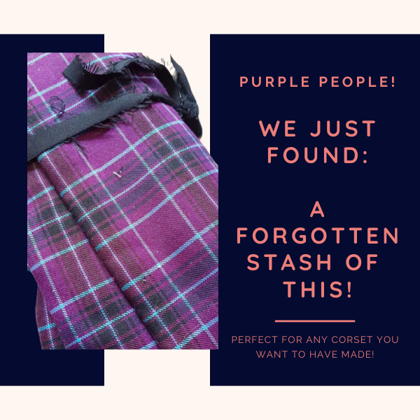 embarrassing but fortunate for purple people who love our corsets! purple tartan fabric stash
