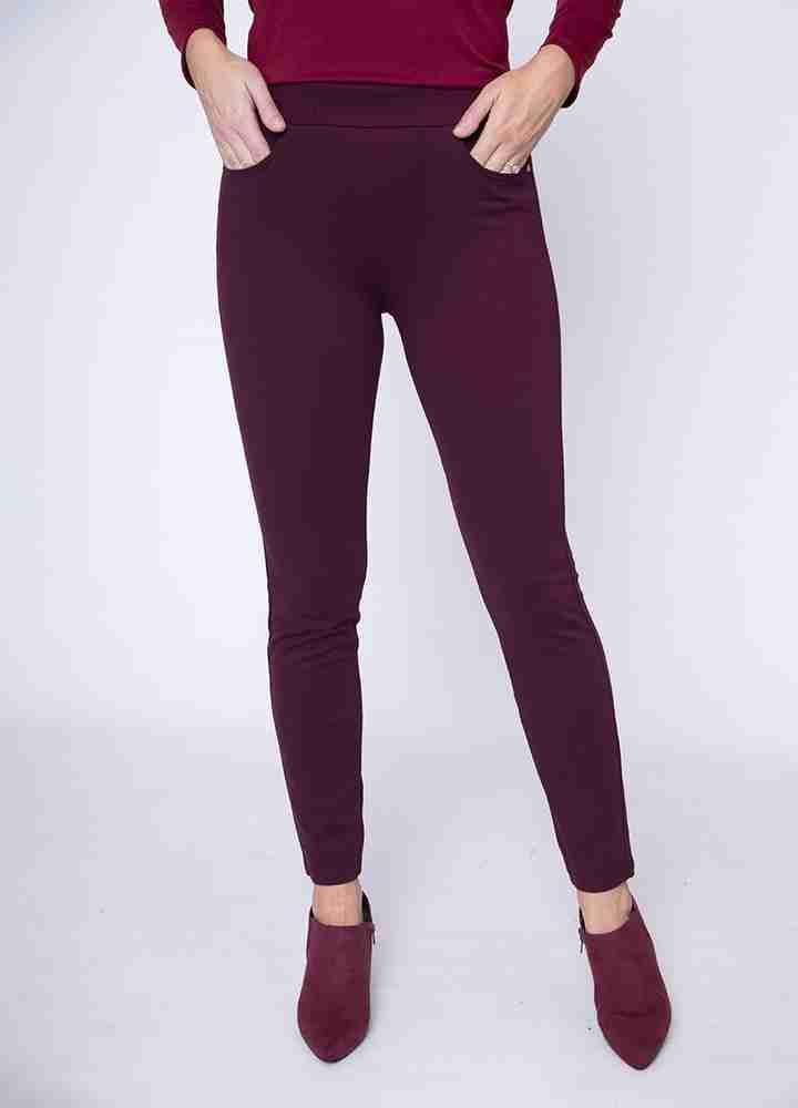 Stretch Waist Stud Pocket Trouser(Wine)