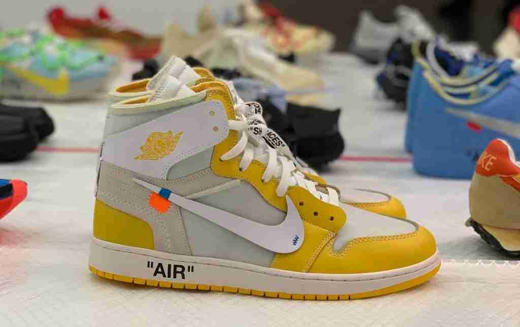 Canary Yellow Off-White x Air Jordan 1 Sample on display at MCA