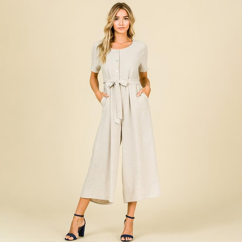 Lily Wide Leg Jumpsuit Oatmeal