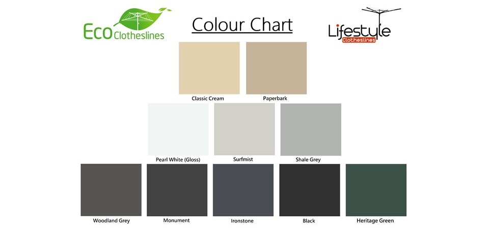 2.5m wide clothesline colour chart showing colorbond colours