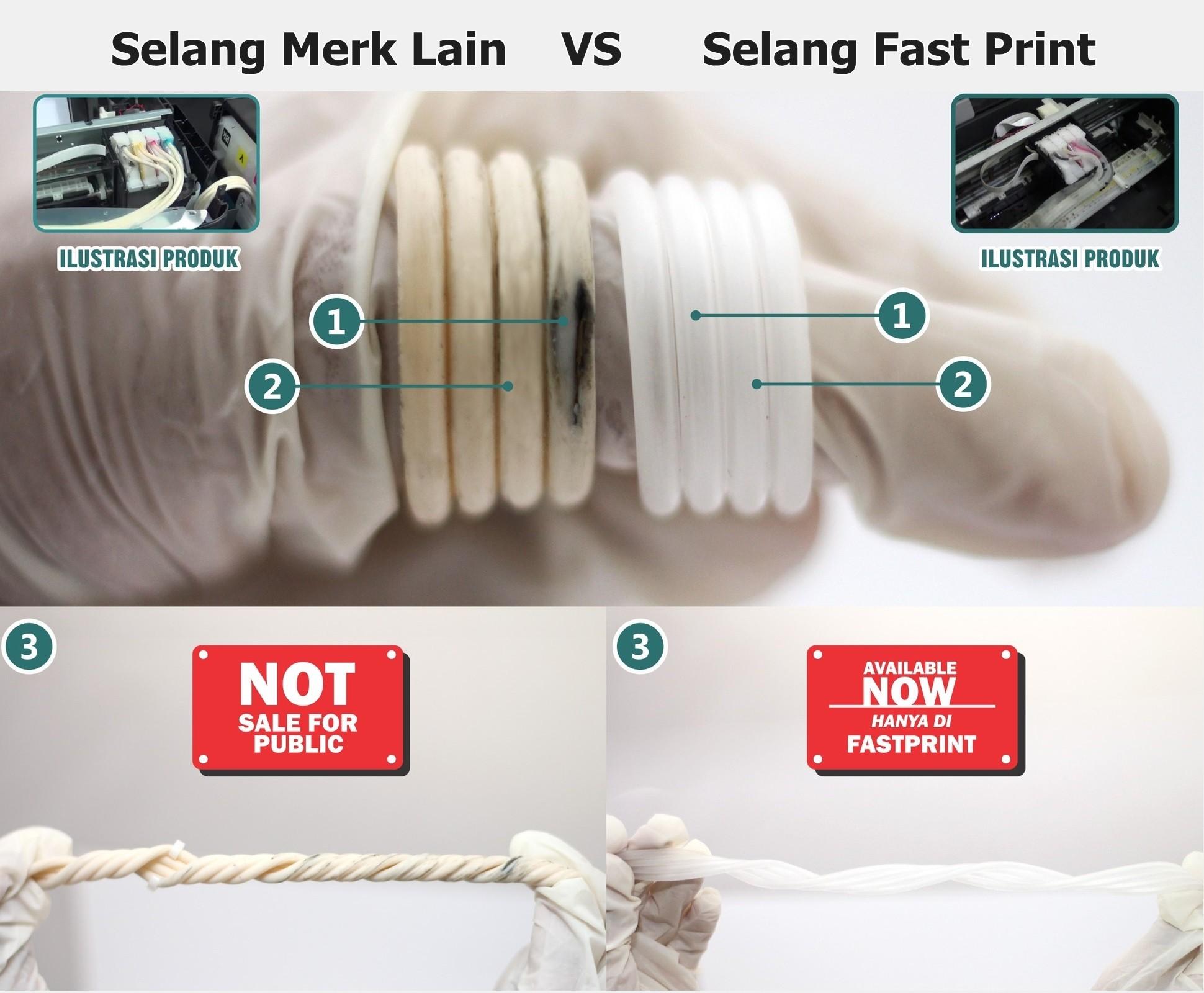 perbandingan selang fast print dan merk lain