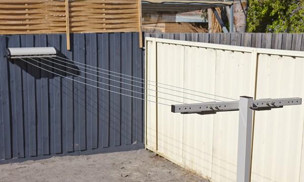 retractable clothesline in action