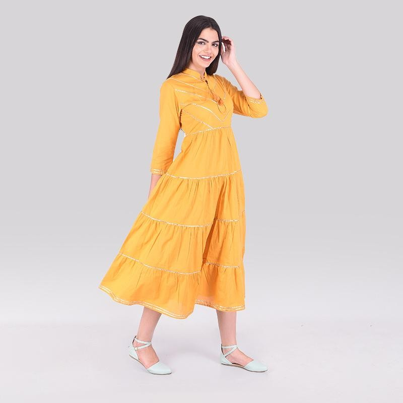 Bella Beach Dress Mustard