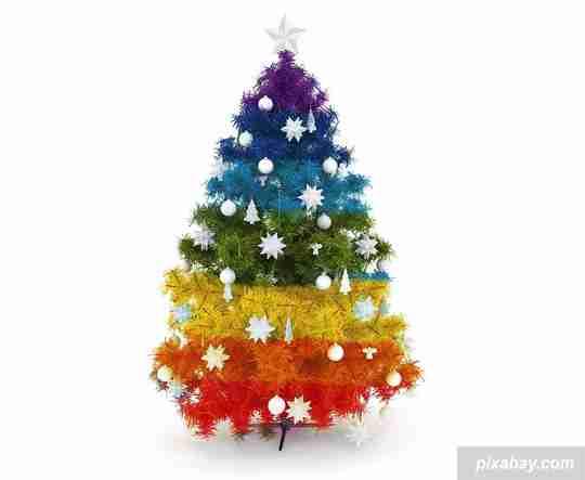 rainbow christmas, natal warna-warni, perayaan natal, dekorasi natal