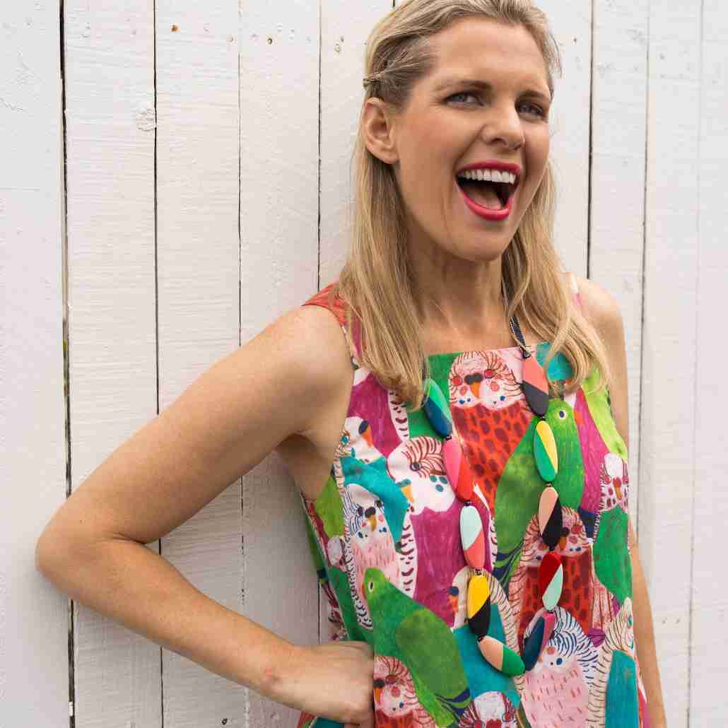 Skye wearing a colourful top