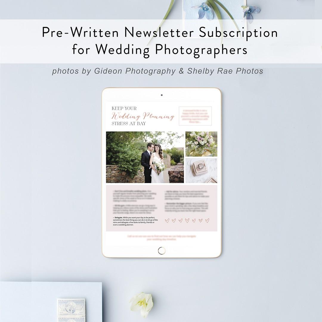Pre-written newsletter subscription for wedding photographers