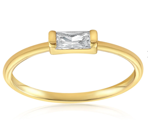 Gold vermeil ring with an emerald cut gemstone in the middle