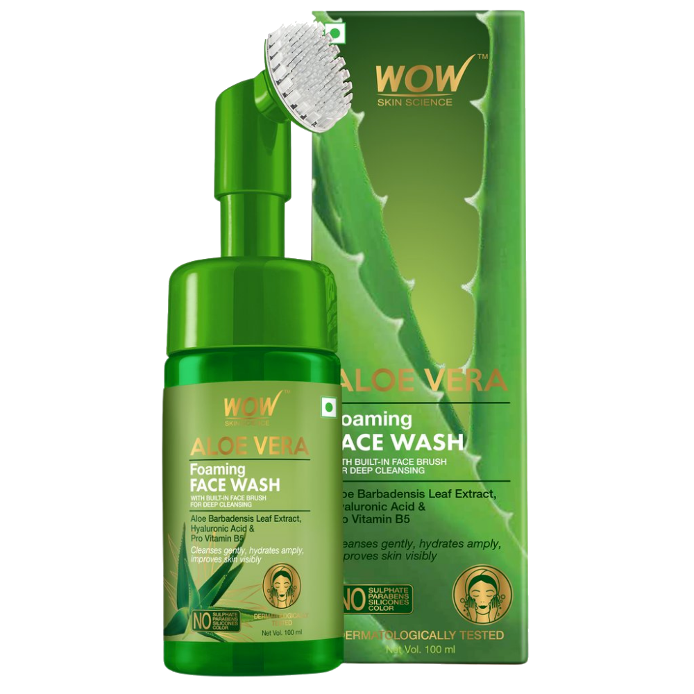 WOW Skin Science Aloe Vera Foaming Face Wash With Built-In Face Brush For Deep Cleansing - No Parabens, Sulphate, Silicones & Color - 100 ml