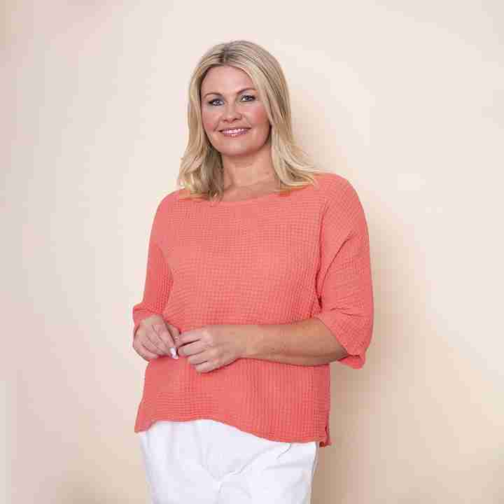 Honeycomb Scoop End Top(Coral)