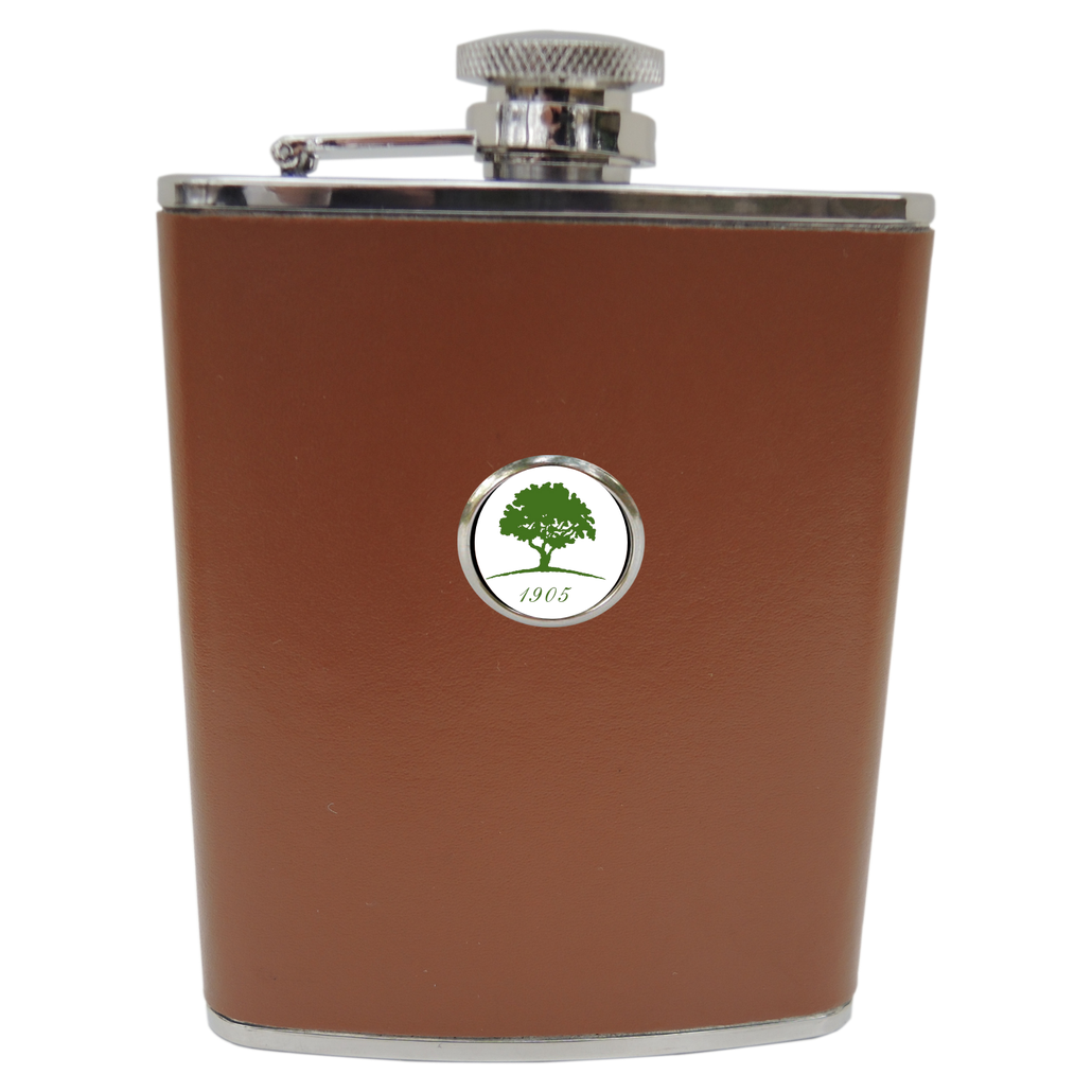 Leather Flask with golf club logo