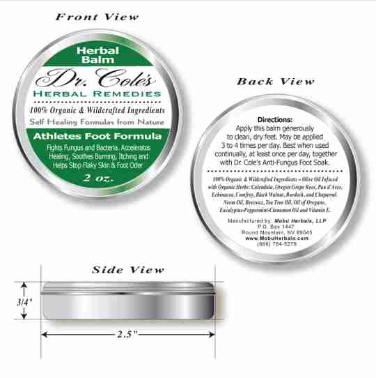 Dr. Coles Athlete's Foot Balm front, back and side views.