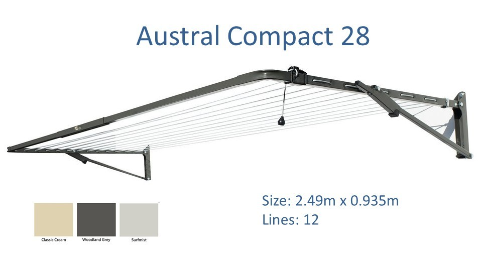 austral compact 2.4m wide colour options