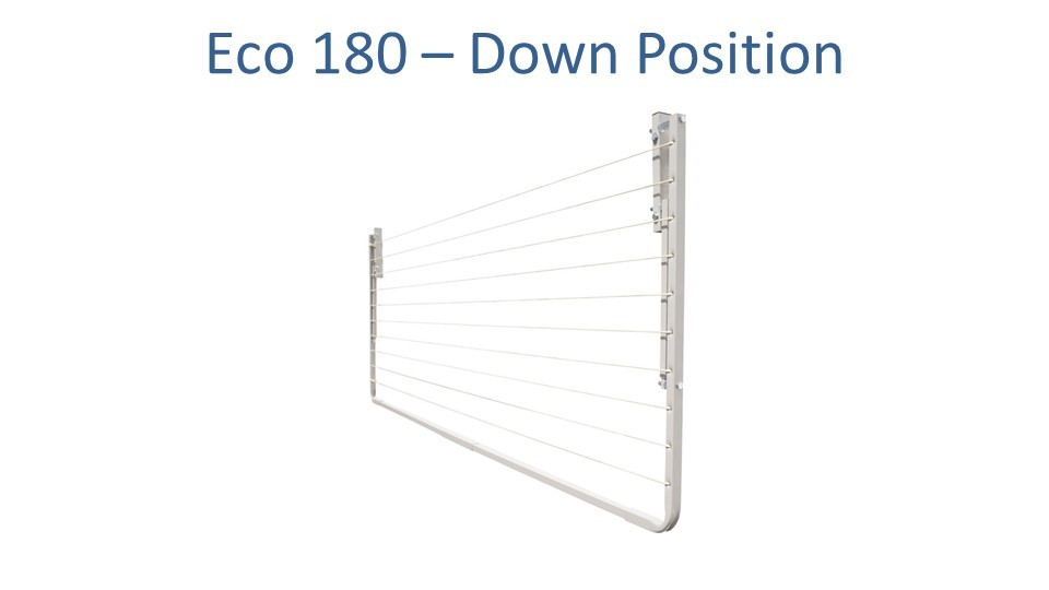 eco 180 1.6m wide clothesline folded down