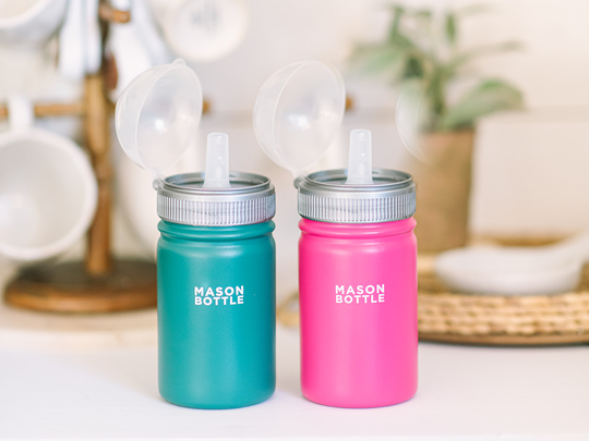 Stainless steel bottle with straw top