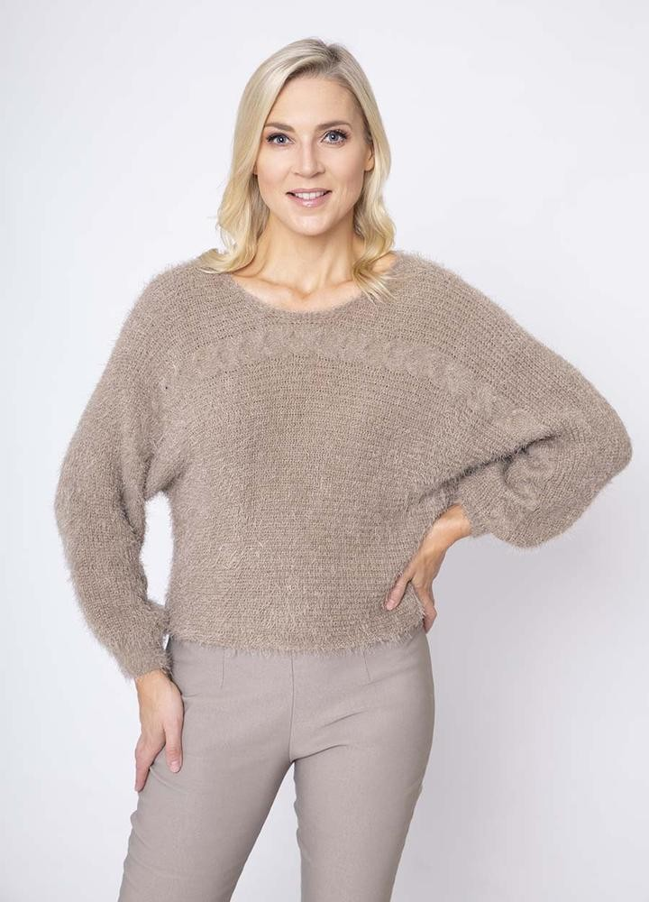 Cable Mohair Jumper in Taupe