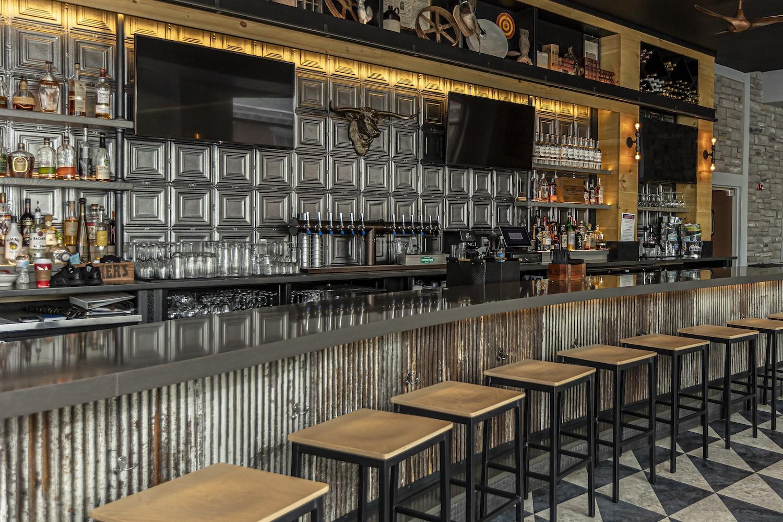 custom restaurant curved reclaimed tin bar