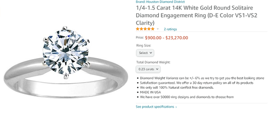 Houston Diamond District product listing on Amazon.com