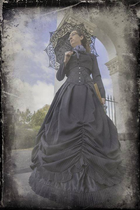 Tin type old world image of Tessa Ambrose wearing Gallery Serpentine Pinstripe Victorian Wedding Dress at the Clunes Booktown festival