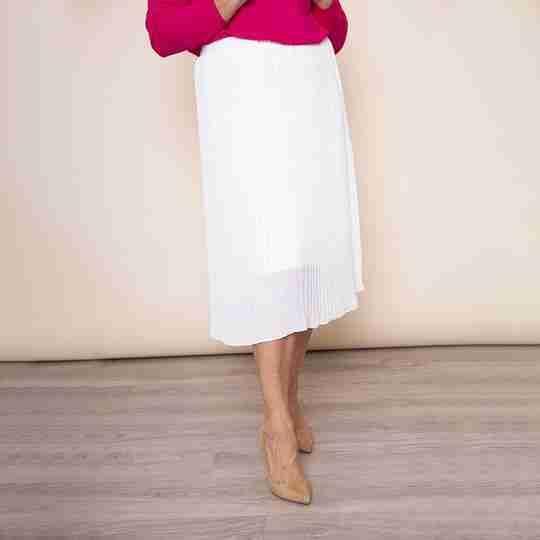 Long Pleat Skirt (White)