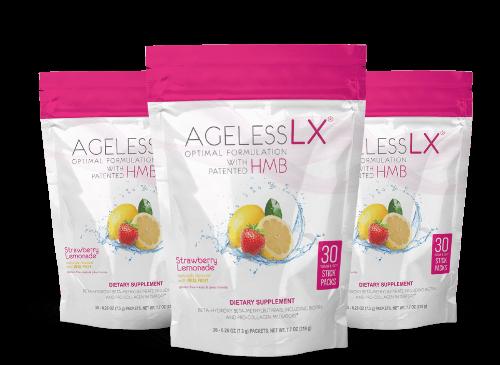 3 Bags AgelessLX Strawberry Lemonade