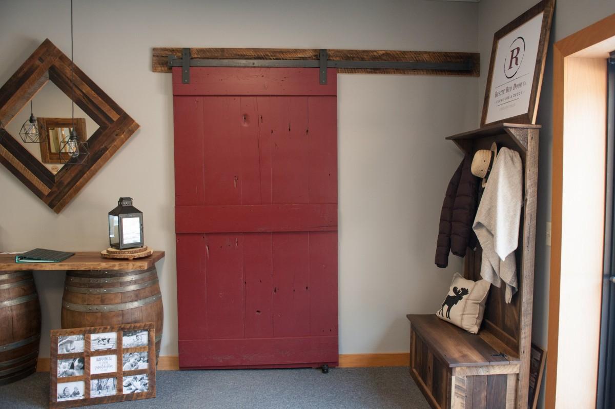 rustic red sliding barn door