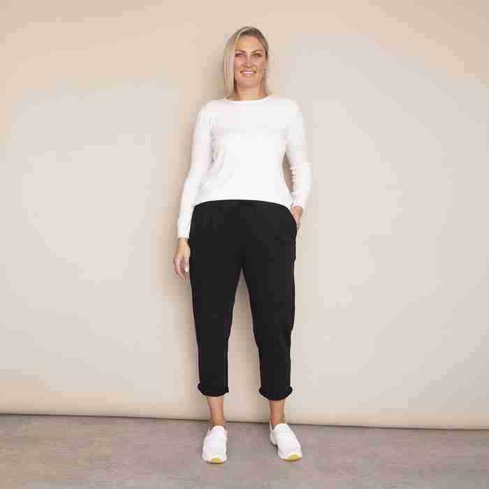 Jackie Drawstring Trousers - Plus Size(Black)