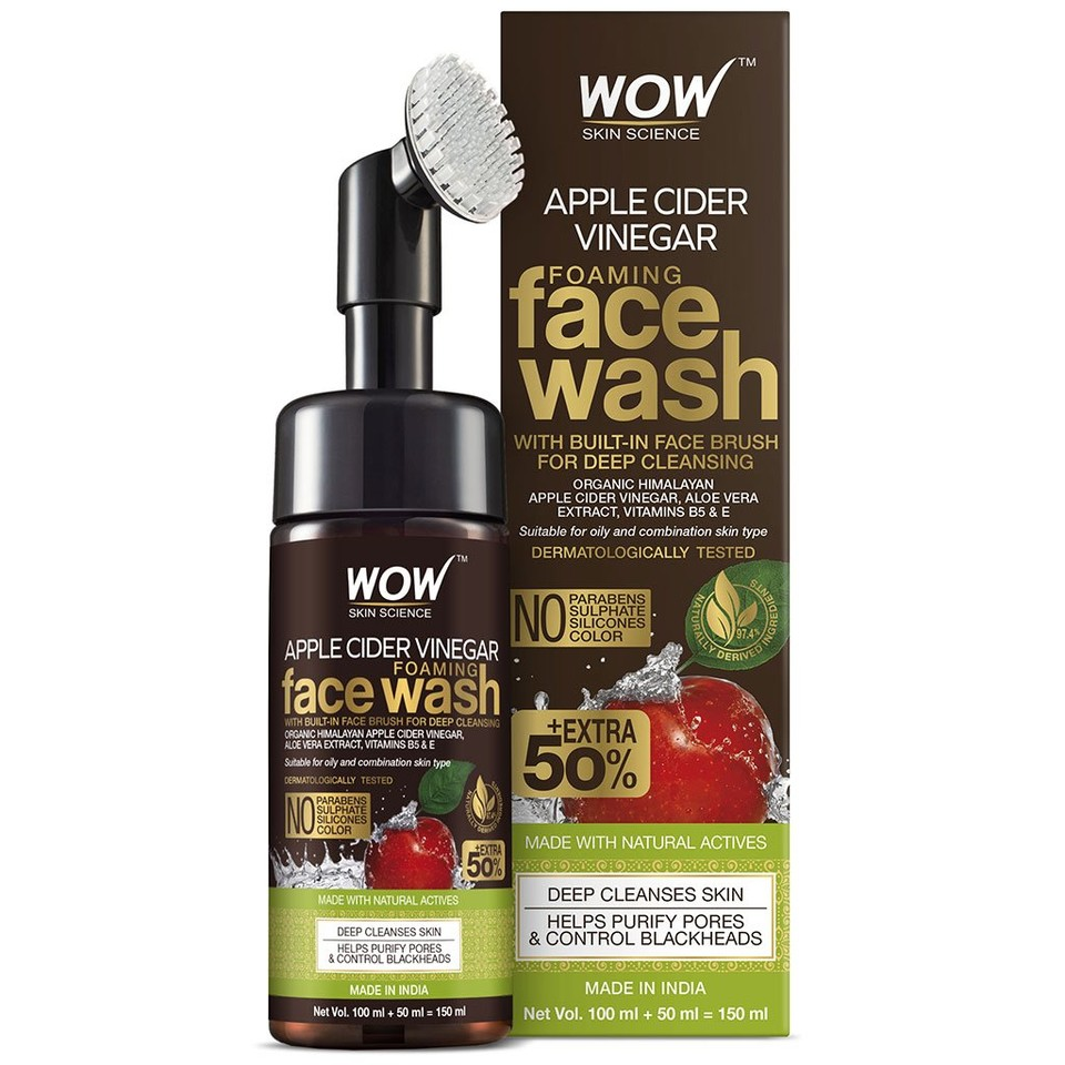 WOW Skin Science Apple Cider Vinegar Foaming Face Wash (with in-built brush) - 100 mL