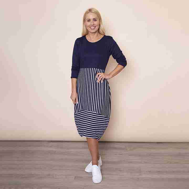 Long Sleeve Stripe Dress in Navy
