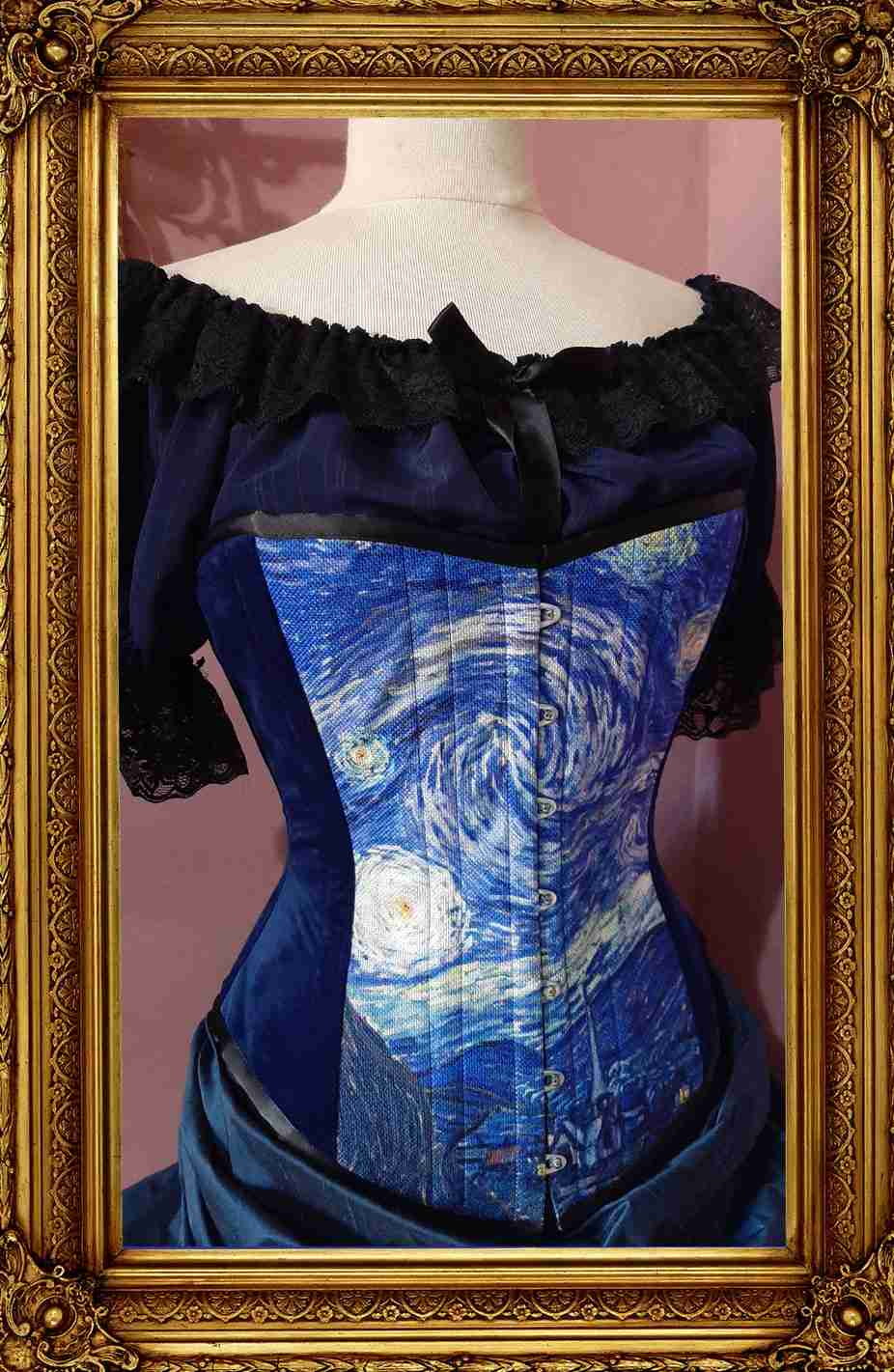 side front view of the new Starry night van gogh print corset showing blue velvet side panels