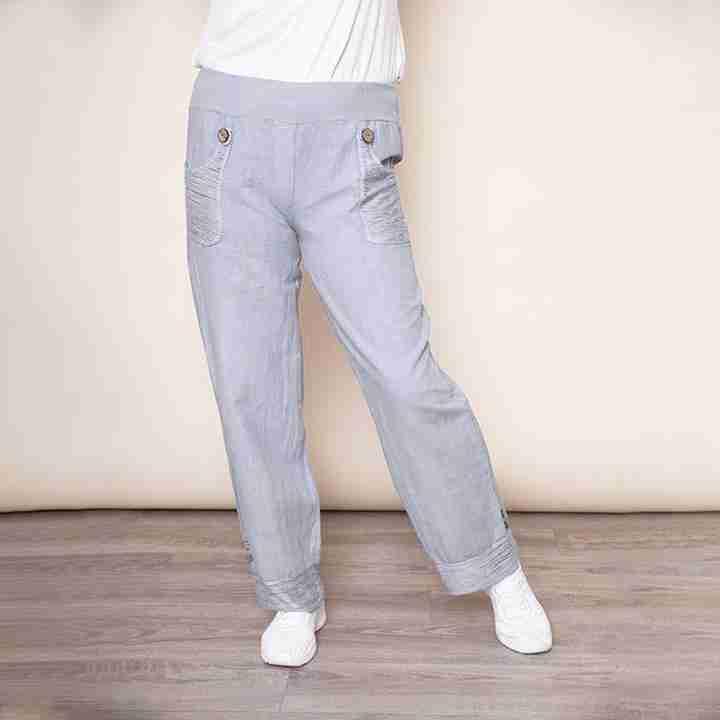 Stretch Waist Pocket Linen Trouser(Grey)