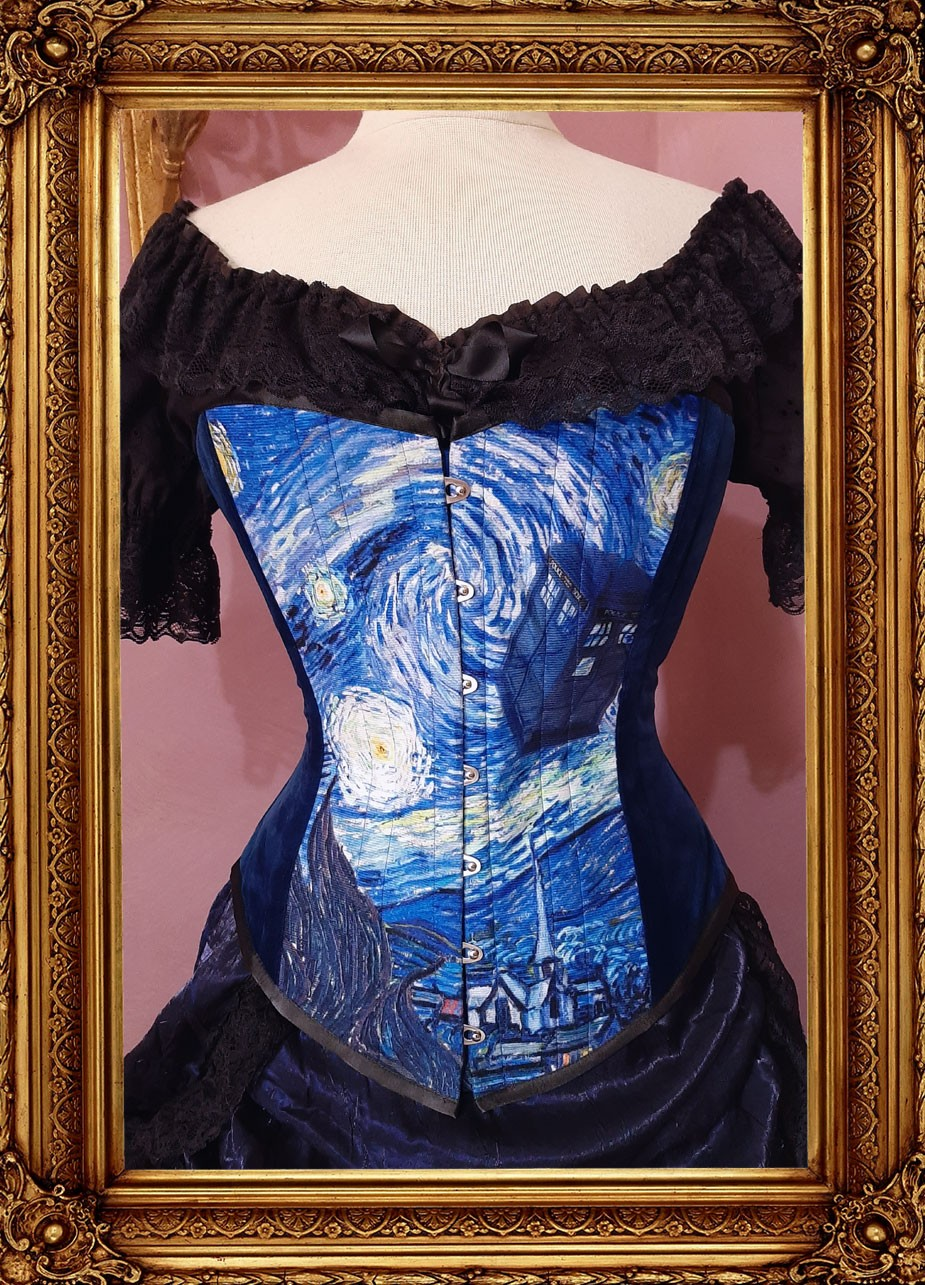 front view of the new Starry night time travel Police Box print corset showing blue velvet side panels