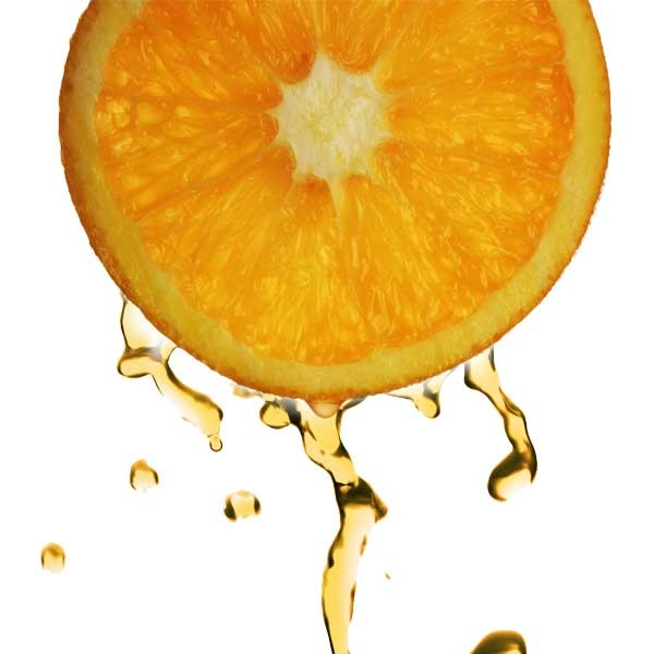 Pictured is an orange slice with juice dripping. Vitamin C face Cream is a well-loved product.
