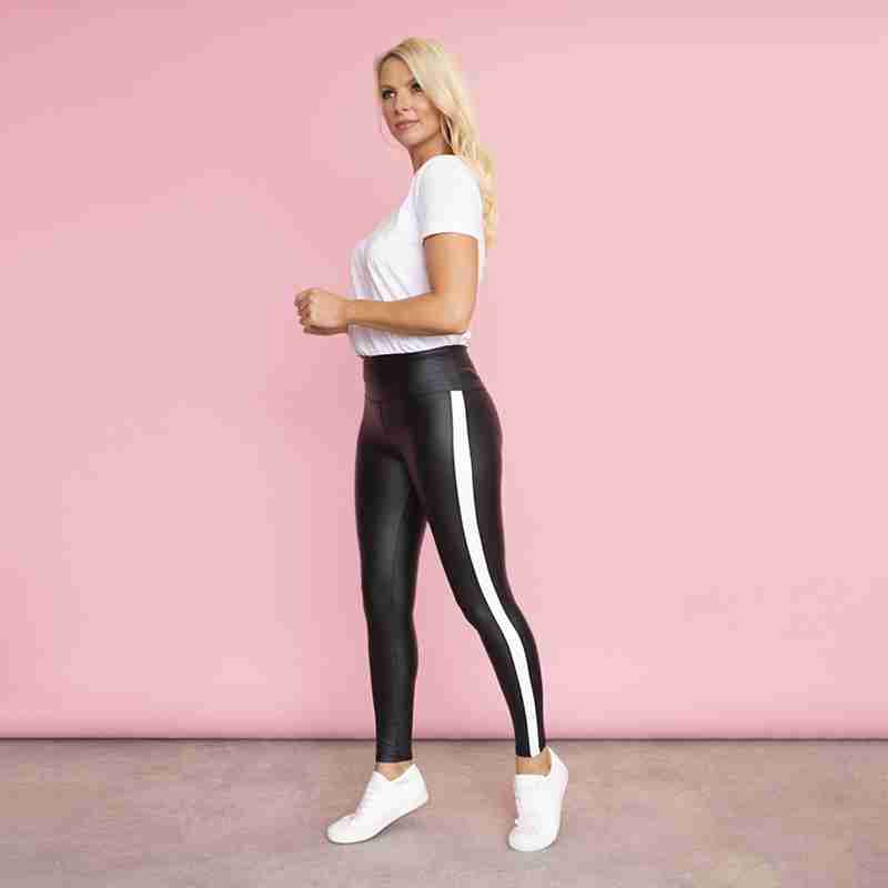 Hailey Wet Look Leggings(White Stripe)