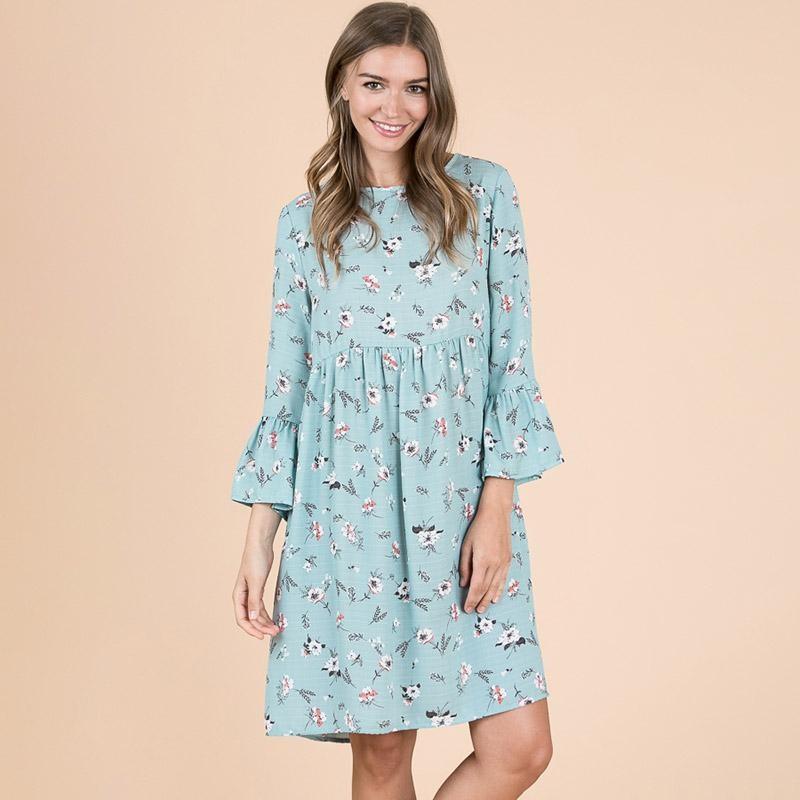 Cathy Flute Sleeve Babydoll Dress