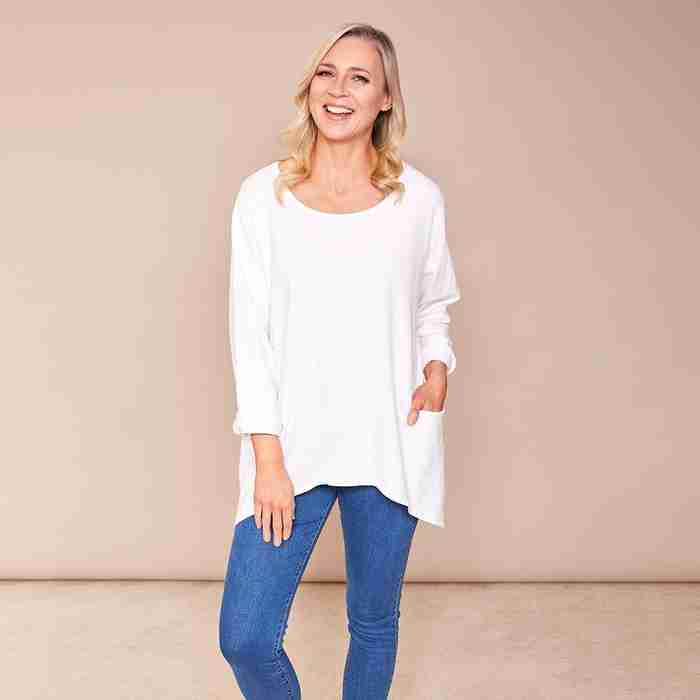 Vicky 2 Pocket Top(White)