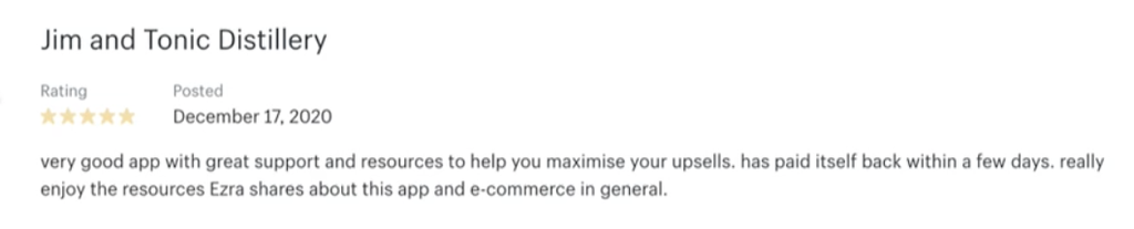A Shopify App Store review for OneClickUpsell.