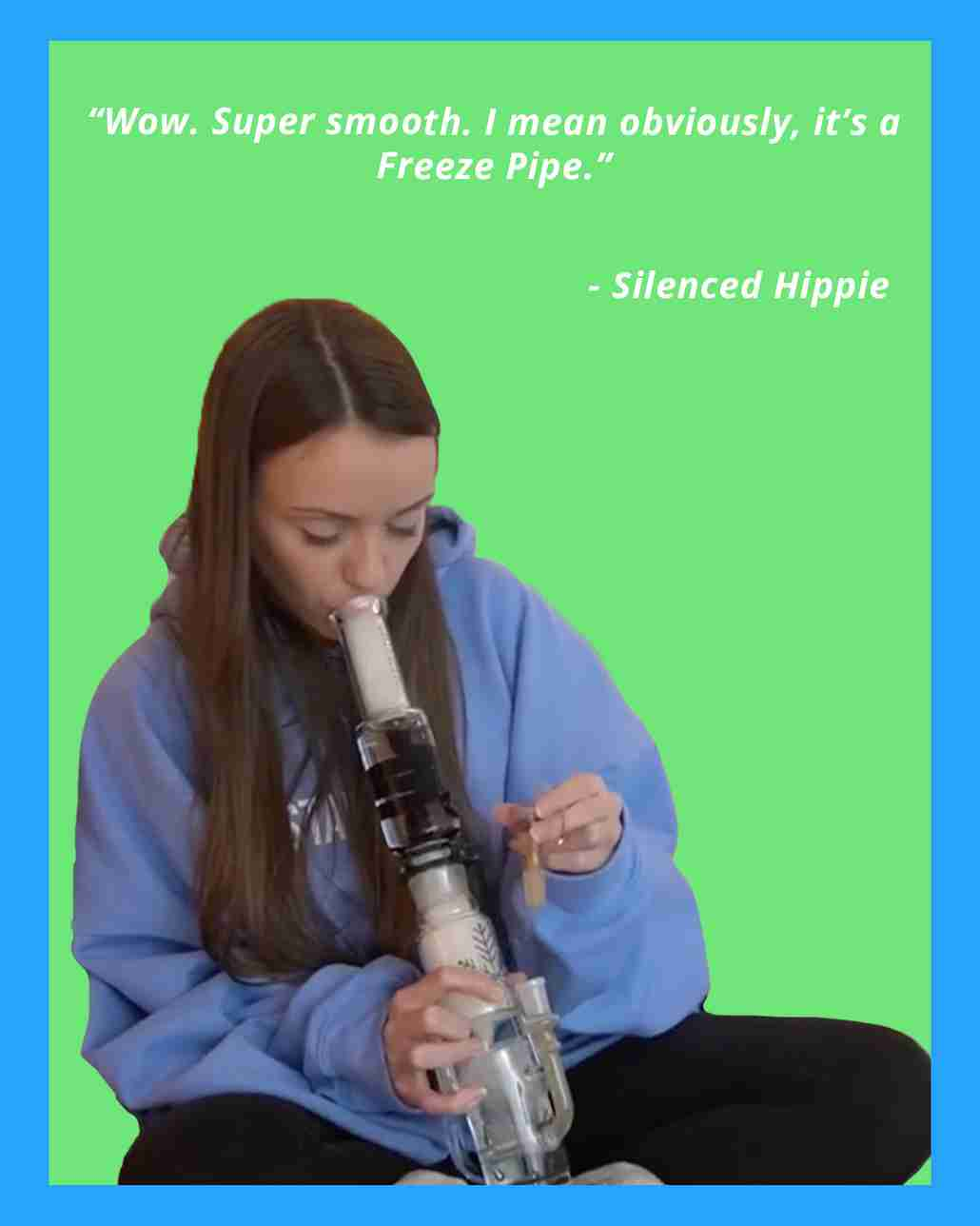 silenced hippie smokes water bong