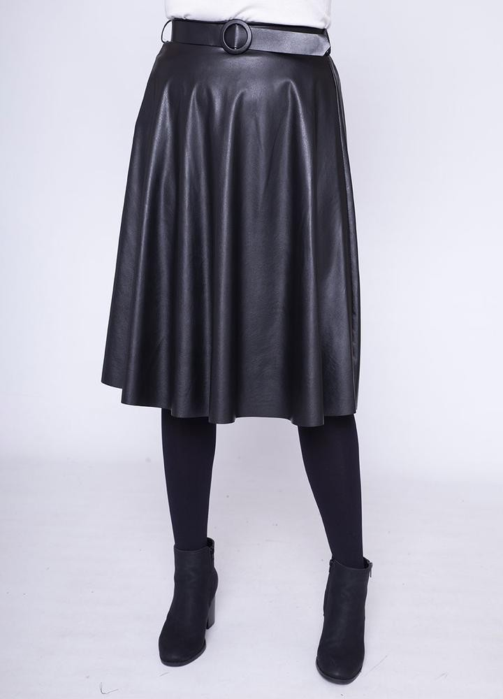 Faux Leather Stretch Waist Skirt in Black